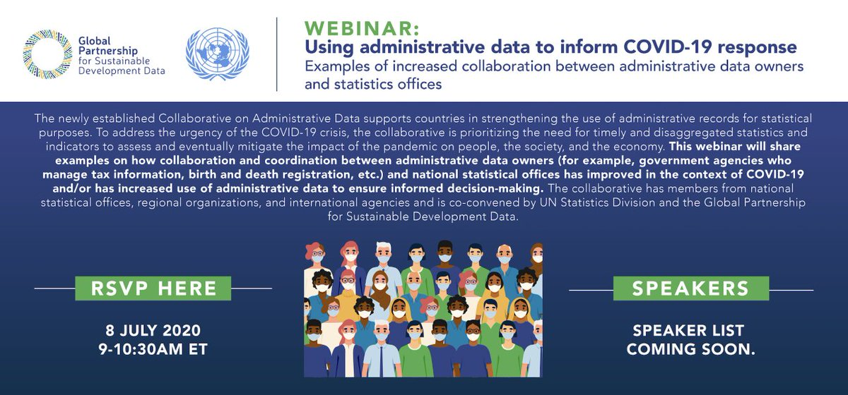 Timely & disaggregated data from administrative records is crucial in mitigating the impact of #COVID19 on society & economy.  In this webinar tomorrow, 8 July, 9AM ET, we will share stories of government cooperation for informed policymaking → http://bit.ly/38xMc8M @UNStatspic.twitter.com/oC2YwrWsK2