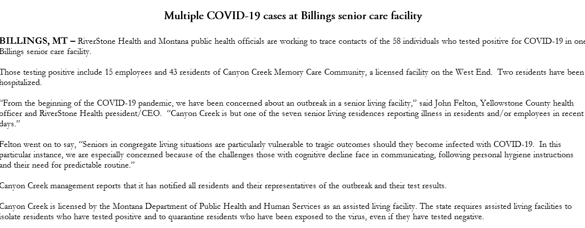 58 covid cases at a memory care facility in Billings. 15 employees, 43 residents. #covid19mt