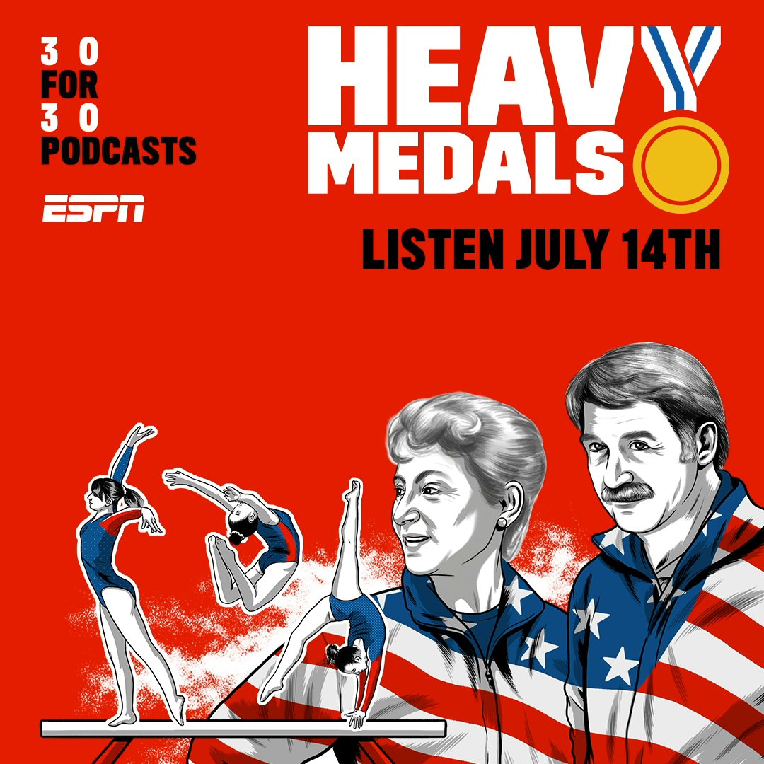 """The newest 30 For 30 podcast """"Heavy Medals"""" will explore the lives and influence of Bela and Martha Karolyi — the most successful coaches in gymnastics history, and the most controversial.   For more info: https://t.co/Wy4xAHZpoB https://t.co/f5pYR8On1l"""