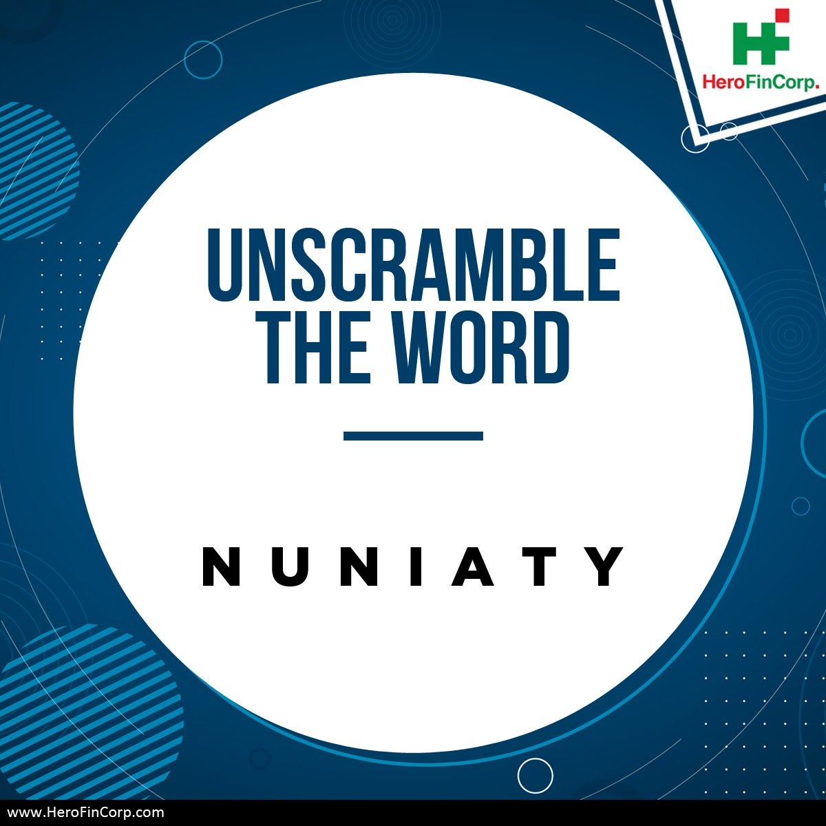 Can you unscramble this word to get a meaningful word which is pretty common in #loan & #finance sector?   #HeroFincorp #ContestAlertpic.twitter.com/yeM3V2TFdg