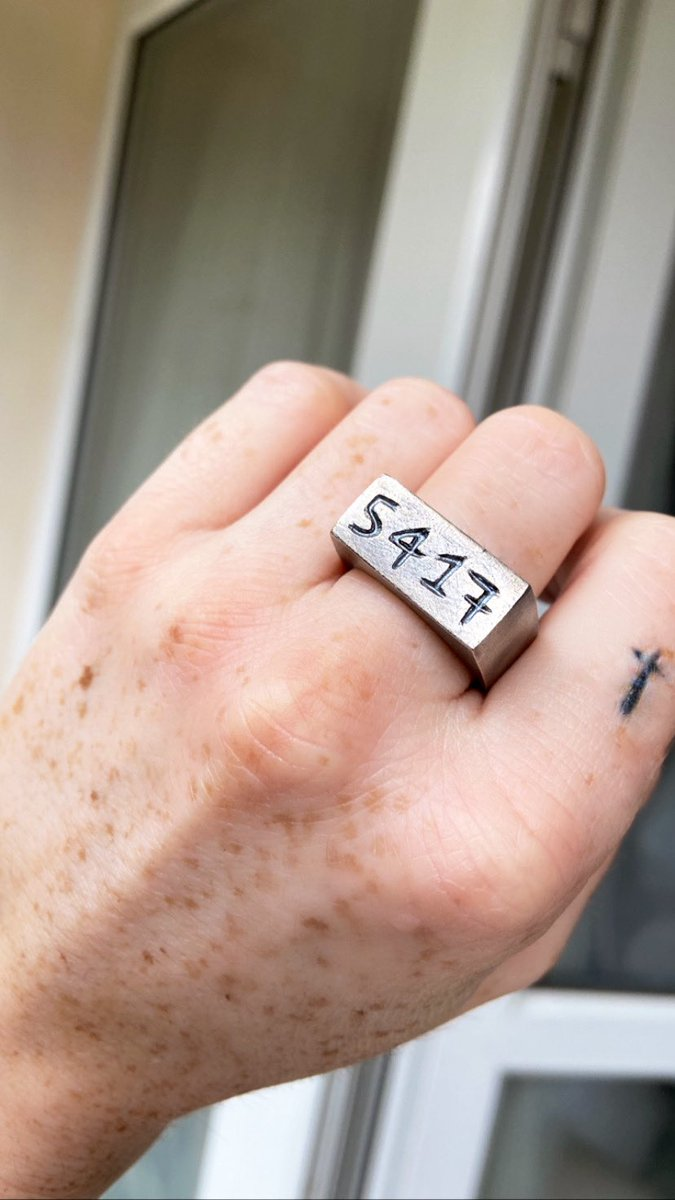 """Finished! Textured and Oxidised for a """"worn"""" gunmetal look. Numbers defined. Pretty heavy at 22g! All ready to go to her owner 🖤   #BespokeRingDesign #RingDesign #SignetRingDesign #JewelleryMaker #JewelryMaker #925SterlingSilver #SmallBusiness #RingMakerUK"""