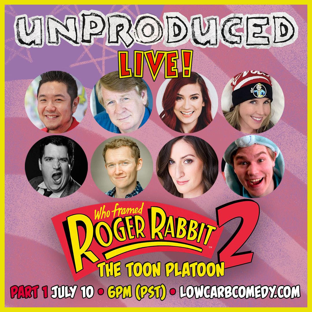 Meet our cast for ROGER RABBIT 2: TOON PLATOON! Part 1 July 10th @ 6PM PST Watch: youtu.be/IZ0d8xslcWM • ERIC BAUZA (Bugs Bunny) BILL FARMER (Goofy) ANNA BRISBIN (Brizzy Voices) JAN JOHNS (Fallout 3) BROCK POWELL (Kool-Aid Man) TED EVANS (Incredibles 2) • #unproducedlive