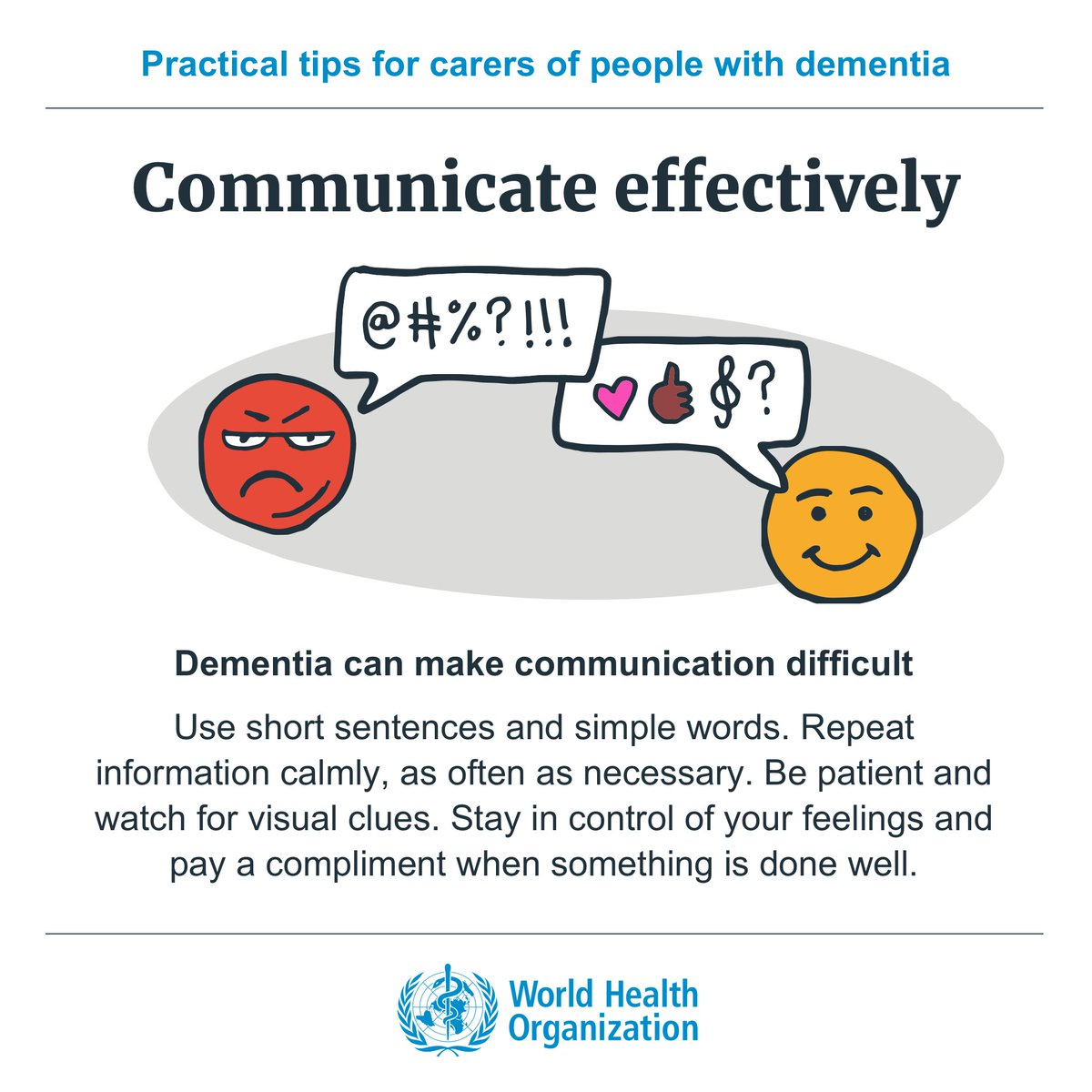 Q: How can I communicate effectively with the person with #dementia? A: Dementia can often make communication difficult. Get attention in a respectful way https://t.co/0UC7ieHW70  #MentalHealth https://t.co/Tkg0NeA0W4