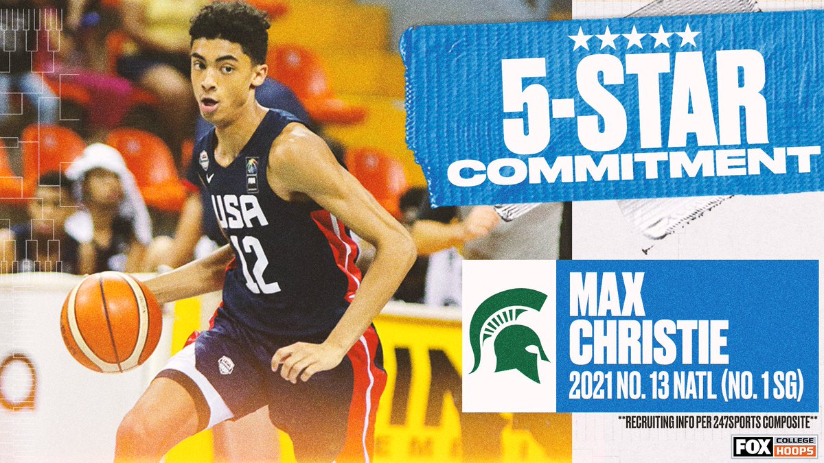 Another 5-star is heading to East Lansing! ✨  @Max12Christie, the No. 13 overall recruit in 2021, commits to @MSU_Basketball over Villanova, Virginia, Ohio State and Purdue https://t.co/TUCDgv7LC8