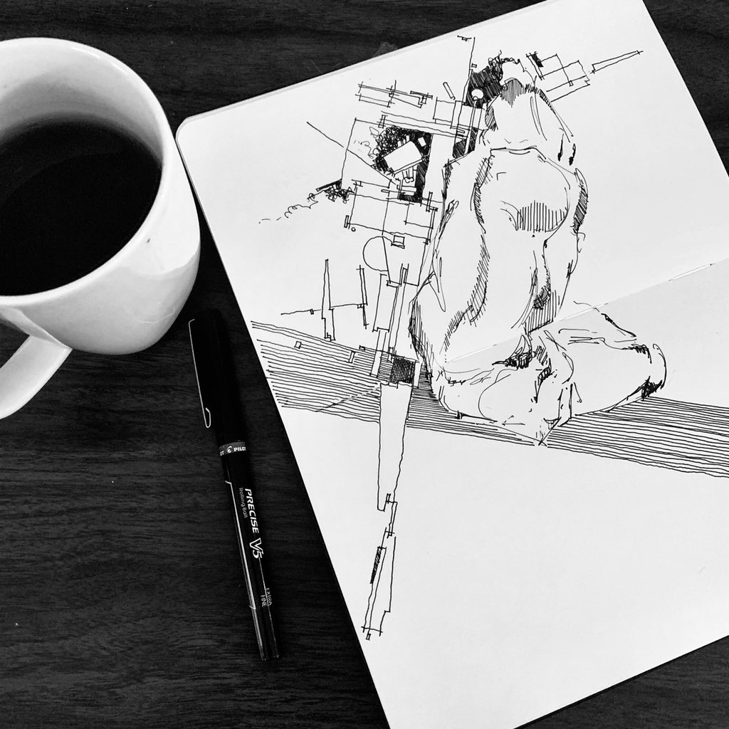 07.07.20   #coffeesketch #inksketch #figure #figuredrawing  #formspaceorder #hybriddrawing #draweveryday #dailysketch #quicksketch #art #architecture #podcastpic.twitter.com/qbg0rDnBcp