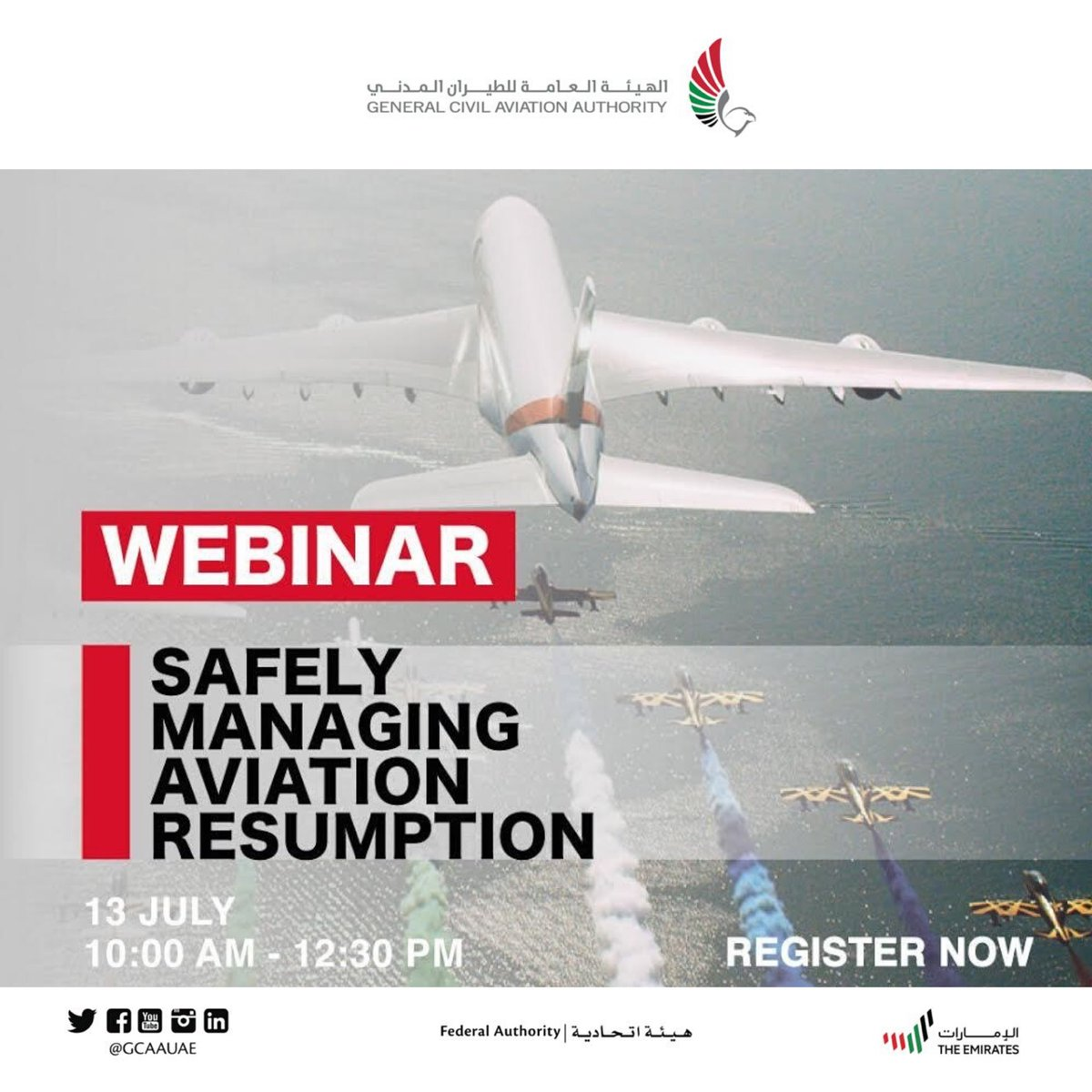 "1️⃣ The General Civil Aviation Authority invites you to attend webinar⁣⁣ ""Safely Managing Aviation Resumption"" Organized by the Aviation Safety Affairs Sector to gain insights from industry experts for the ongoing critical phase of restarting aviation safely. https://t.co/TmFROcJH49"