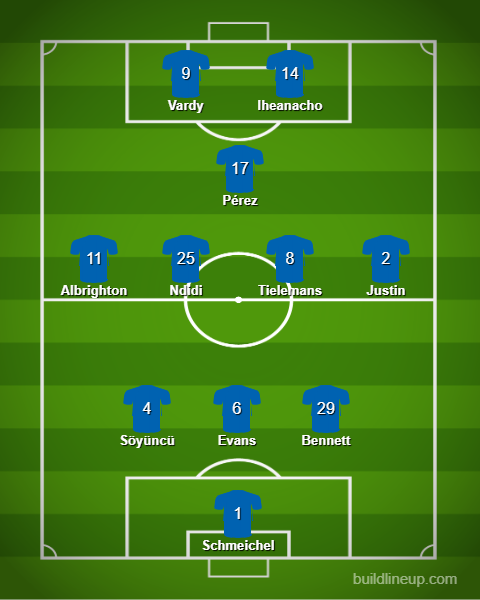 """I expect/want #LCFC to shape up like this. I also think that this """"gamble"""" defensively does have positives for the attack. Ndidi/Tielemans against Ceballos/Xhaka is intriguing. Arsenal has ball players & two aggressive midfielders, who are sometimes naive in their press. #ArsLei"""