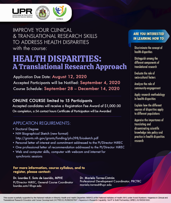 FYI Postdoctoral Fellows interested in expanding your knowledge and research skills in addressing health disparities. https://t.co/CPrdJPikaB