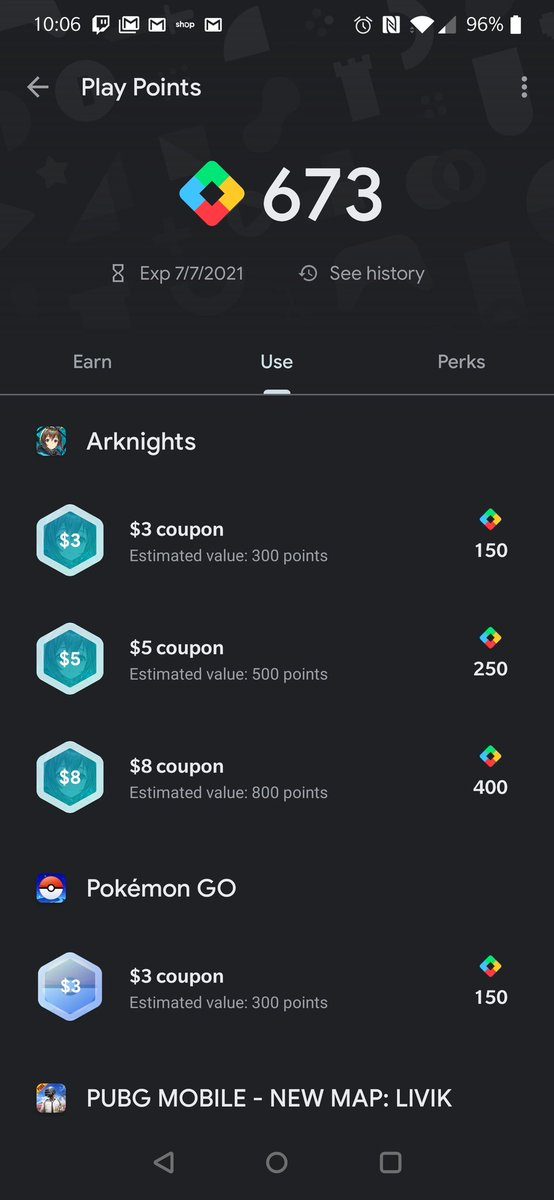 heads up that if you are on Android you can sign up for google play points program and get points for purchases. They have added Arknights to have special coupons/gc you can use for the game! you can also use the points for regular gc as well https://t.co/L3a5Bbwqgj