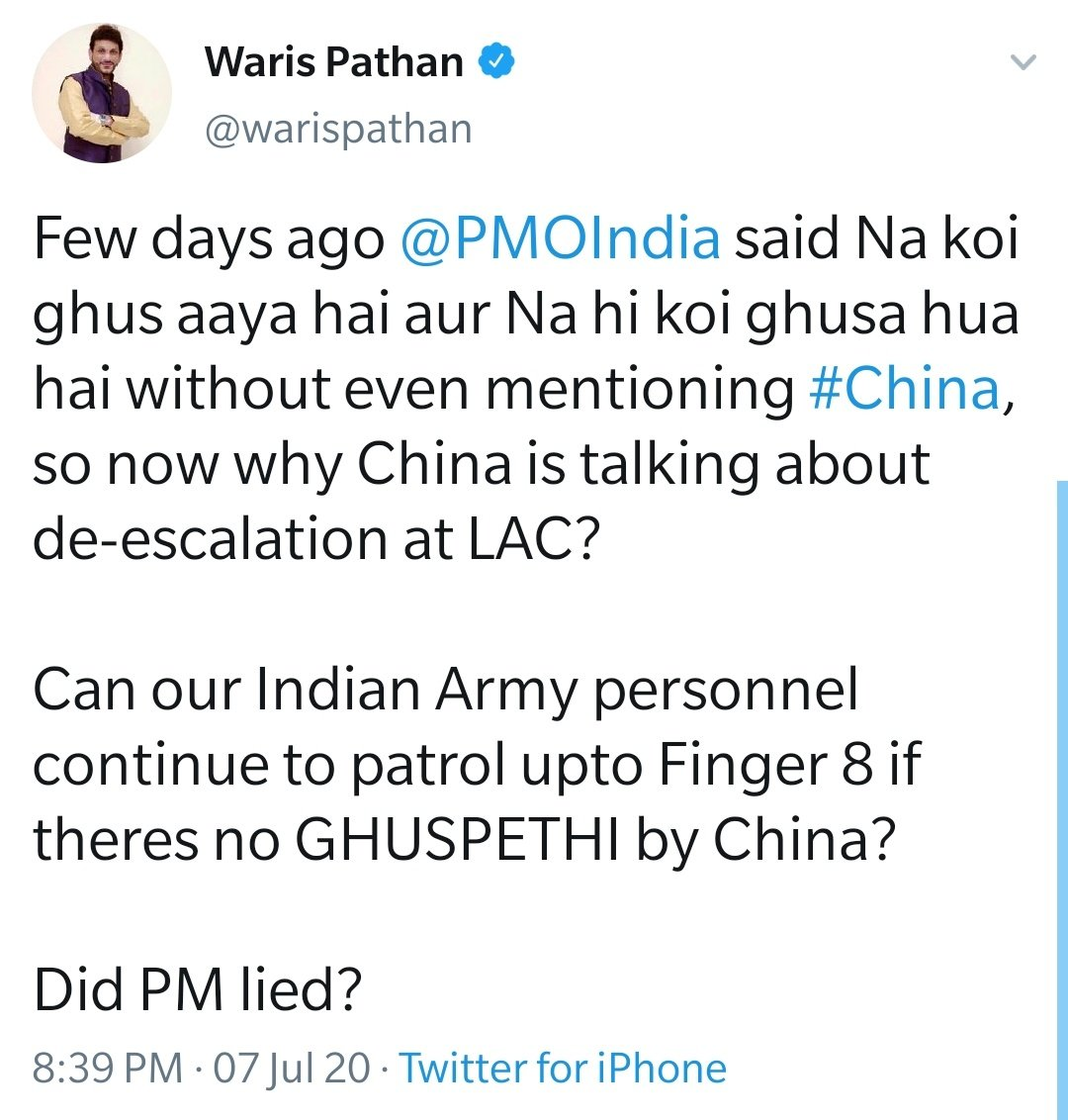.@aimim_national Spokesperson Advocate @warispathan slams BJP Govt on #IndiaChinaBorder and asks PM Modi if China didnt made any incursion then why Chinese are taking about de-escalation. Pathan also asked can Army still patrol till finger 8 at LAC @ANI @IndiaToday @TimesNow