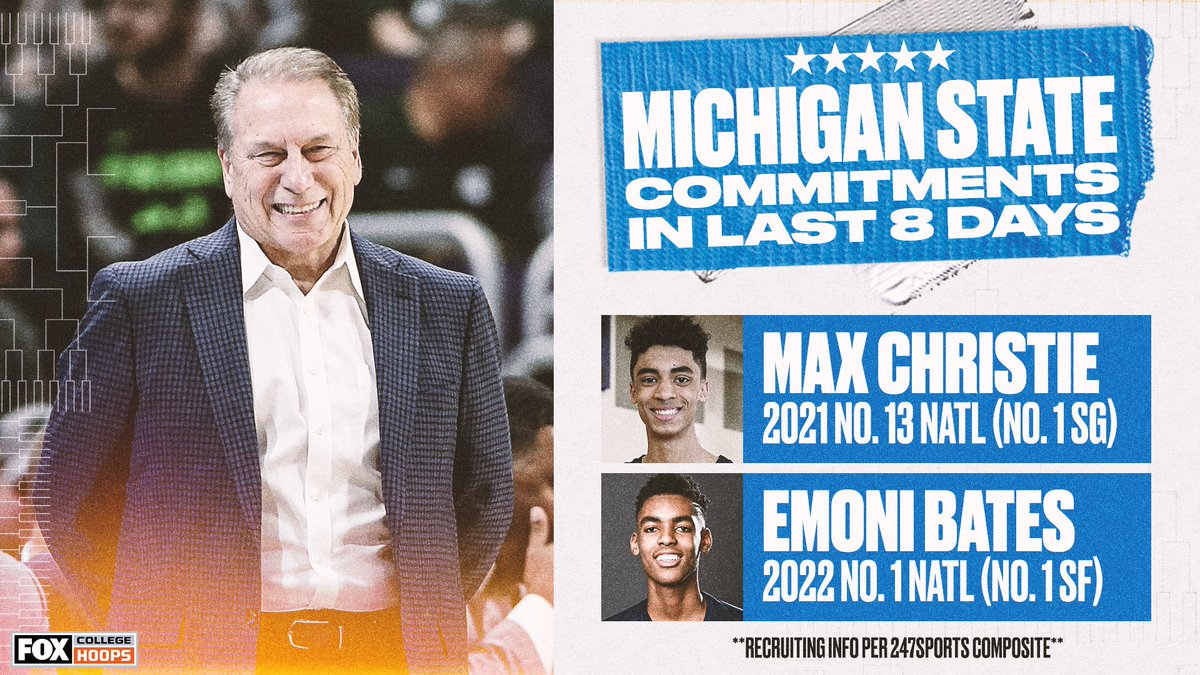 June 29: @BatesEmoni commits to Michigan State July 7: @Max12Christie commits to Michigan State  It's a pretty good time to be a @MSU_Basketball fan 👏👏 https://t.co/j8Hu3dOPn5