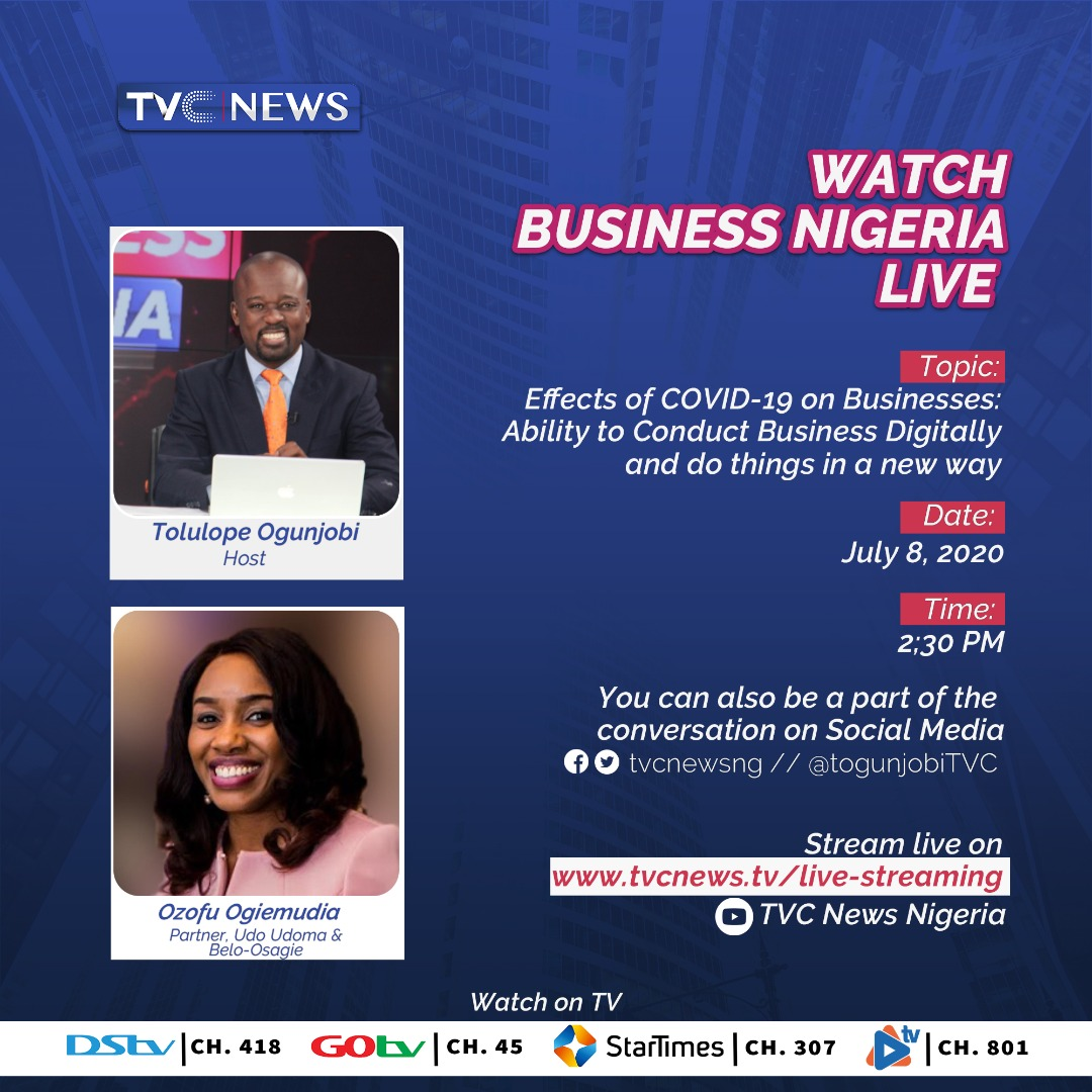 Wednesday edition of #BusinessNigeria on @tvcnewsng will focus on COVID 19 & the ability to conduct business digitally in a new normal. Ozofu Ogiemudia Partner, Udo Udoma & Belo-Osagie will be our guest @ 2:30pm  @IyaHadassah @BabajideOtitoju @nbasblofficial @ozofulatus https://t.co/Uuo7koHrPj