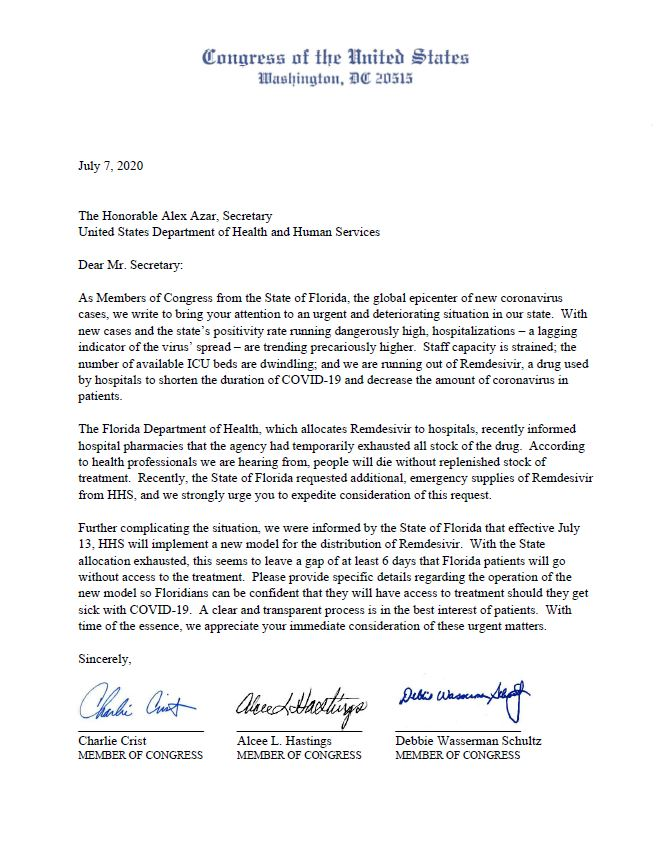 Florida has run out of the critical drug Remdesivir needed to treat #COVID19 patients. Florida Democratic Delegation calling on HHS Secretary to expedite supplies needed to save lives and protect Floridians.   @RepHastingsFL @RepDWStweets