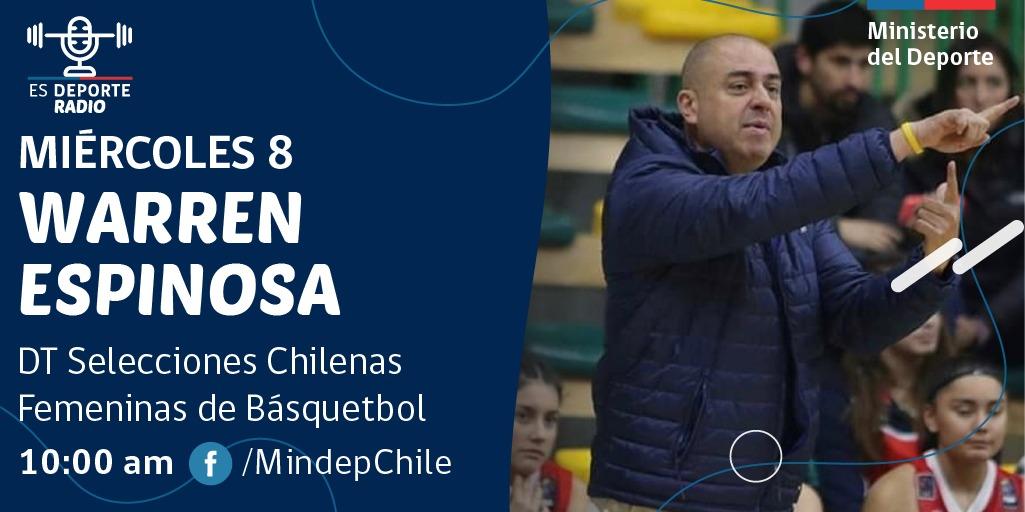 ¿Qué te gustaría saber del básquetbol femenino ? Warren Espinosa será entrevistado mañana en #EsDeporteRadio del  @MindepChile  ¡Participa con tus preguntas! #ChileCompitepic.twitter.com/lECFyYENbX