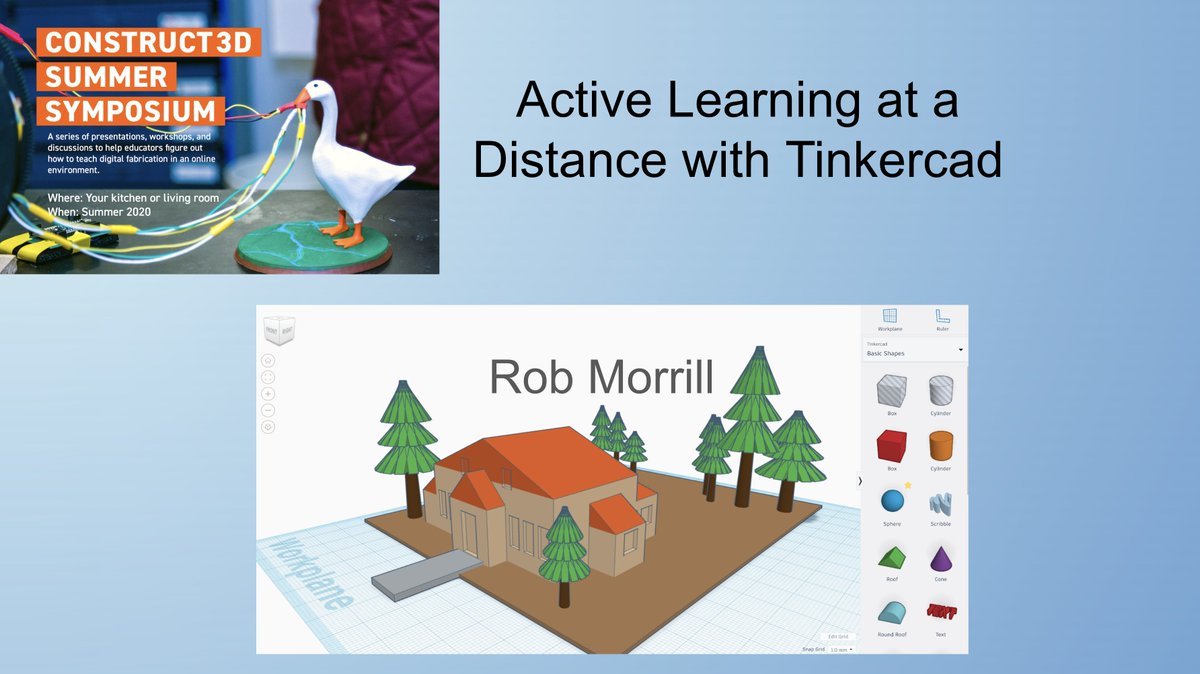 Here's my slide show from today's @construct3dconf presentation on @tinkercad and distance learning. Thanks again to the great Construct 3D folks and to all who attended!  https://t.co/OYWq0W8TQK https://t.co/qcYrWhEQOY