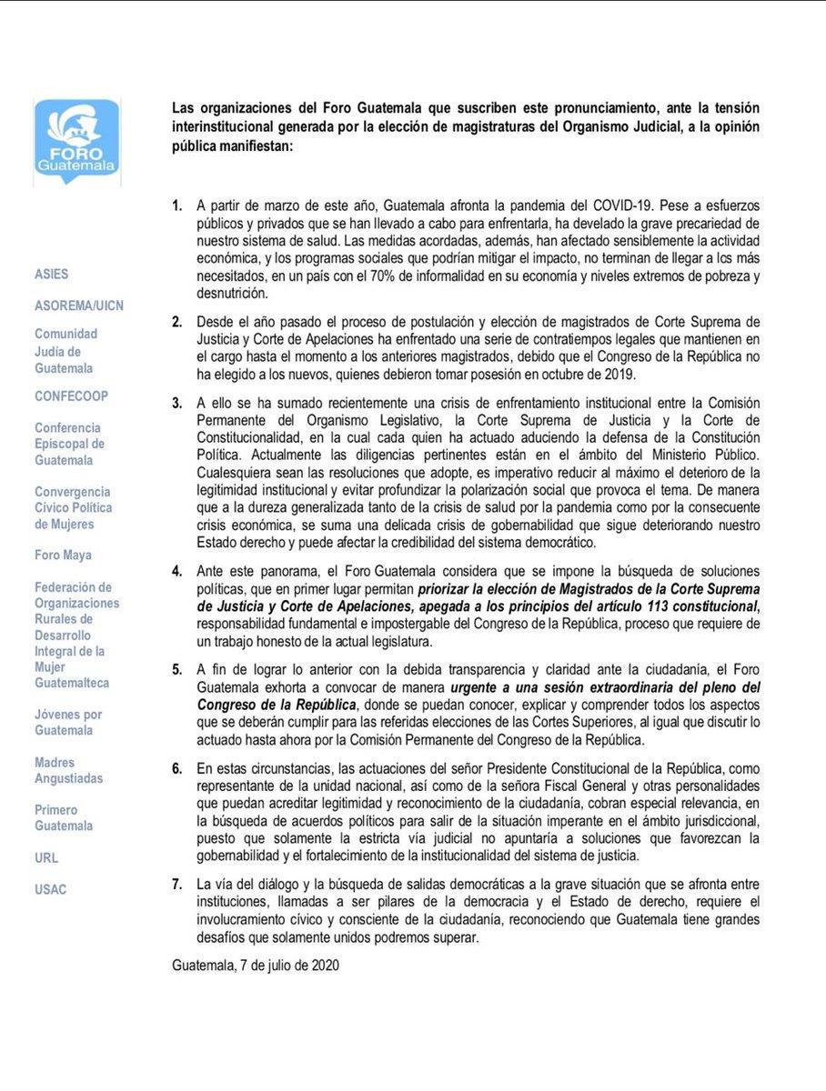 test Twitter Media - El Foro Guatemala pidió hoy elegir a magistrados de Corte Suprema de Justicia y Salas de Apelaciones cumpliendo el artículo 113 de la Constitución https://t.co/dVtBHmRYg9