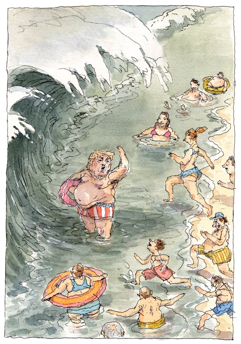 """""""Second Wave,"""" a cartoon by John Cuneo.  http:// nyer.cm/mbNboFe    <br>http://pic.twitter.com/2N45FbzYTV"""