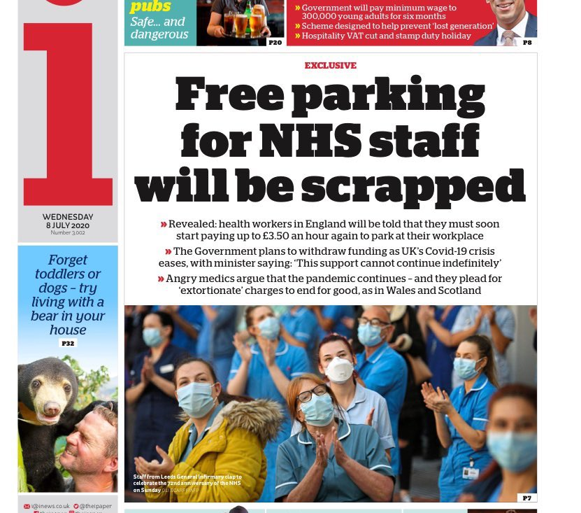 The Government want to scrap free parking for NHS staff, which many thousands rely on. It also helps stop the spread of infection. We have just a few hours to force them to change its plans. Retweet and tell the Government to give NHS staff a break.