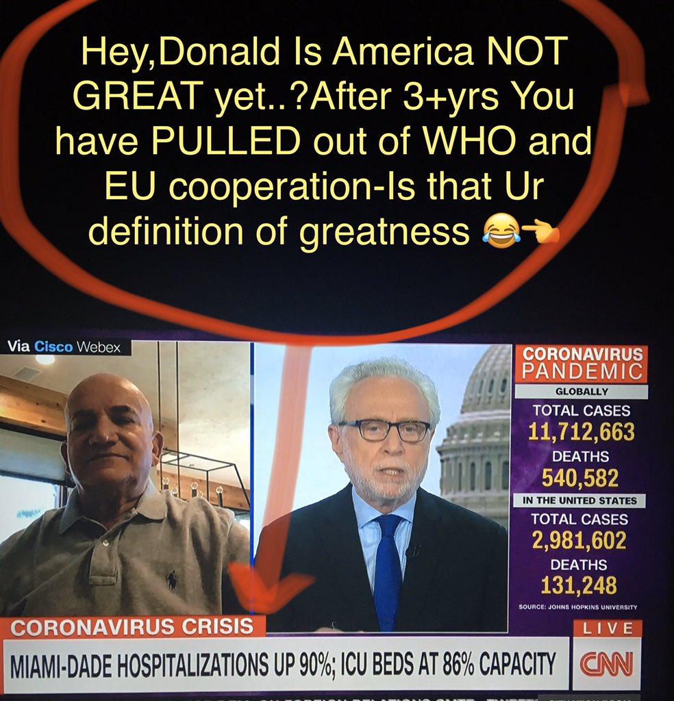 #ChinaAdmitsPushback #sitroom #Trump2020NowMoreThanEver #Biden2020Landslide #BreonnaTaylor #Brazilianpresident #HydroxyChloroquineWorks #arizonacovid #TexasCOVID #California #FloridaCovidEpicenter #CNN #CNNSOTU #Eu #WHO #1qNews Failing 2 PREPARE is preparing 2...?Trump?😂😂😂 https://t.co/PhCi8oiECV
