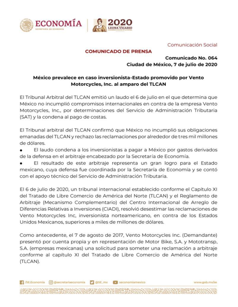 El CIADI del @BancoMundial notificó el 6 de julio el laudo del arbitraje #TLCAN Vento Motorcycles, Inc. v México con un resultado favorable para México. Confirmando así, que México no incumplió obligaciones y rechazó la condena del pago de alrededor de 3 mil millones de dólares