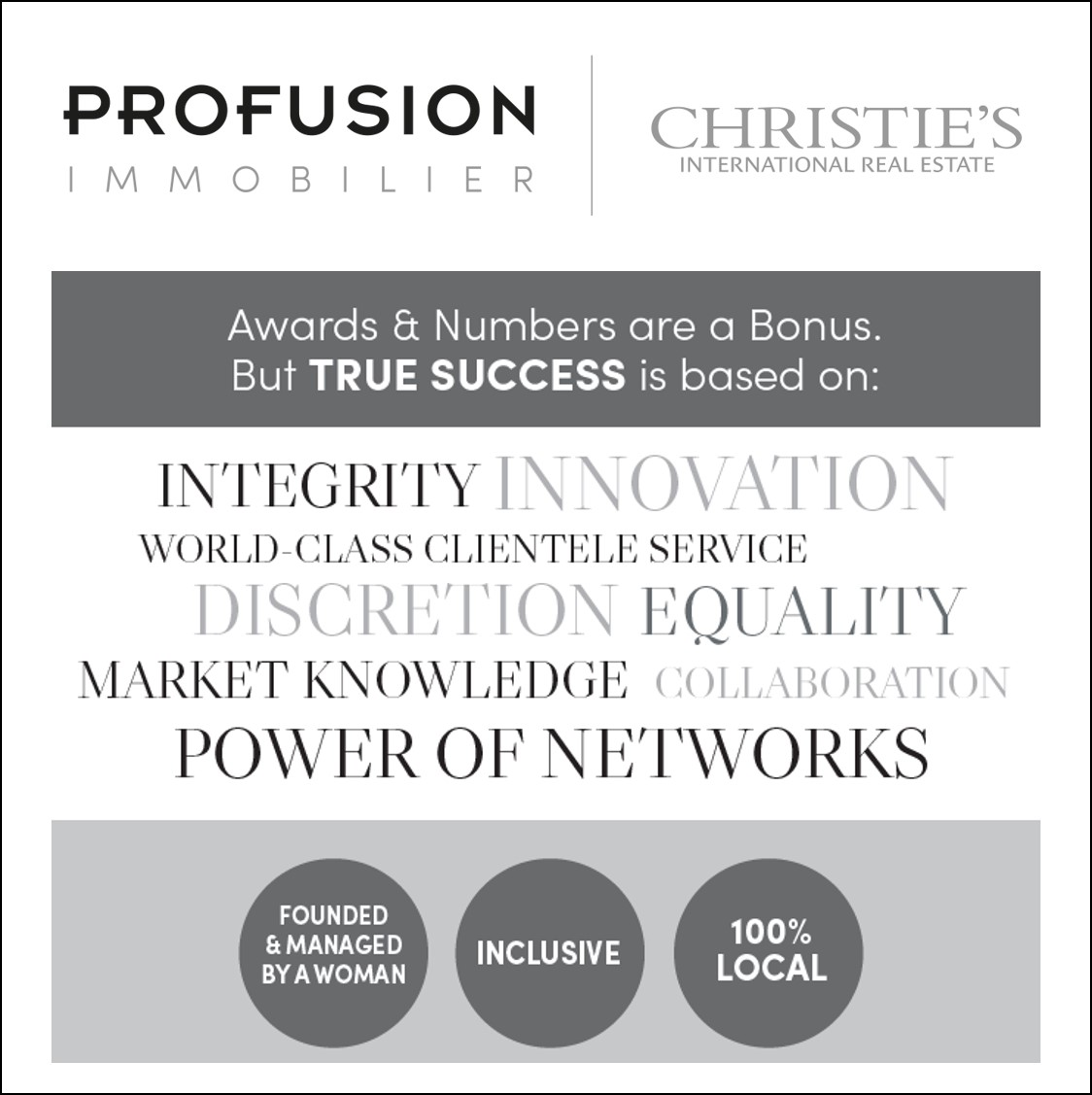 #success #innovation #profusionimmo #profusion #discretion #equality #worldclassservice #100percentlocal #collaboration #powerofnetworks #1 #luxuryrealestate #integrity #truesuccess  Christie's International Real Estate @ChristiesHomespic.twitter.com/YpNGmH2YB6