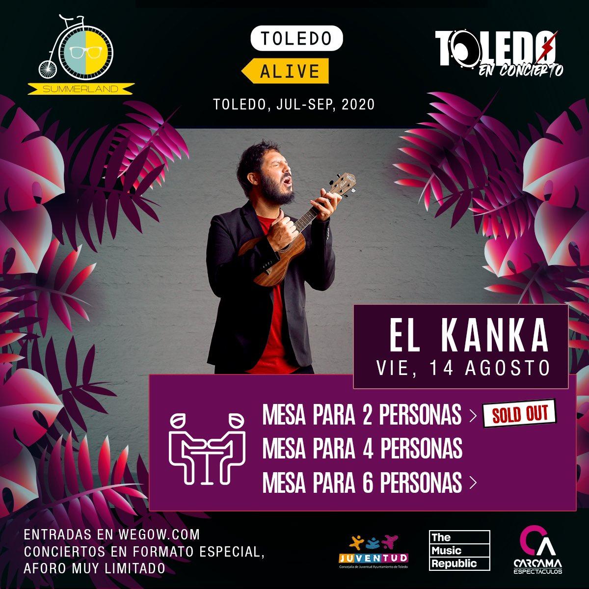 Mesas de 2 AGOTADAS para @El_Kanka 💜 Concierto en acústico el 14 de agosto en Terraza Summerland 🌴 Toledo  Entradas a la venta en: https://t.co/ScRQ7xLPdY https://t.co/Wrdj2mwrRB
