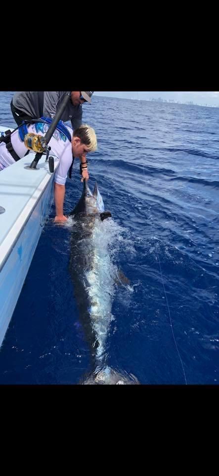 Miami, FL - Miss Britt released a Blue Marlin.