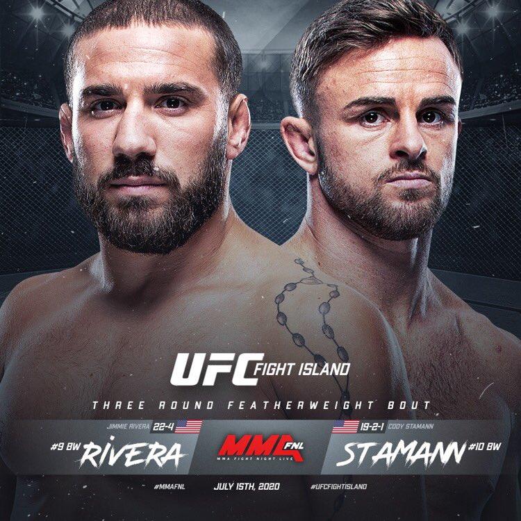 📑 #UFCFightIsland 🗓 07.15.20  Featherweight: Jimmie Rivera [ @JimmieRivera135 ] x Cody Stamann [ @CodyStamann ]  Story by @MMAFighting x @MikeHeck_JR   🔗 https://t.co/5XrTukZ65Q https://t.co/TnhjbbHMPP