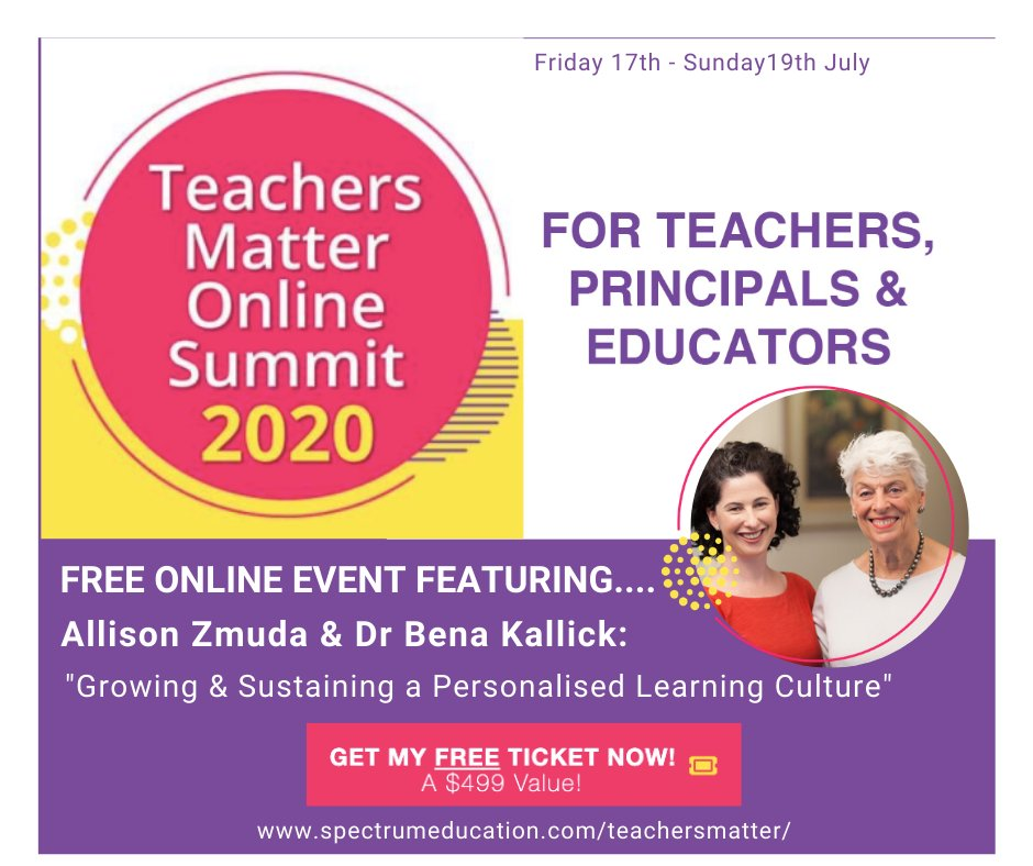 Join me and @benakallick as we speak about Growing & Sustaining a Personalised Learning Culture for the Teachers Matter Online Summit. This summit is free to attend!   Details + register: https://t.co/HSpGPz8q9L  #education #edchat #personalizedlearning #habitsofmind https://t.co/pad9ojJYwI