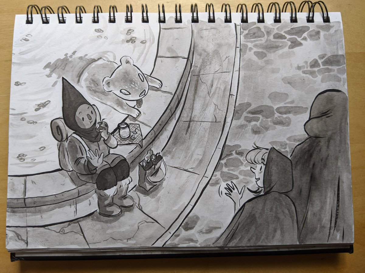 16 - town square  it's not every day you see a spectral mongoose eating pickles in a fountain with their friend conehead  #inktober2019 #ArtistOnTwitterpic.twitter.com/DOerPTGFl4