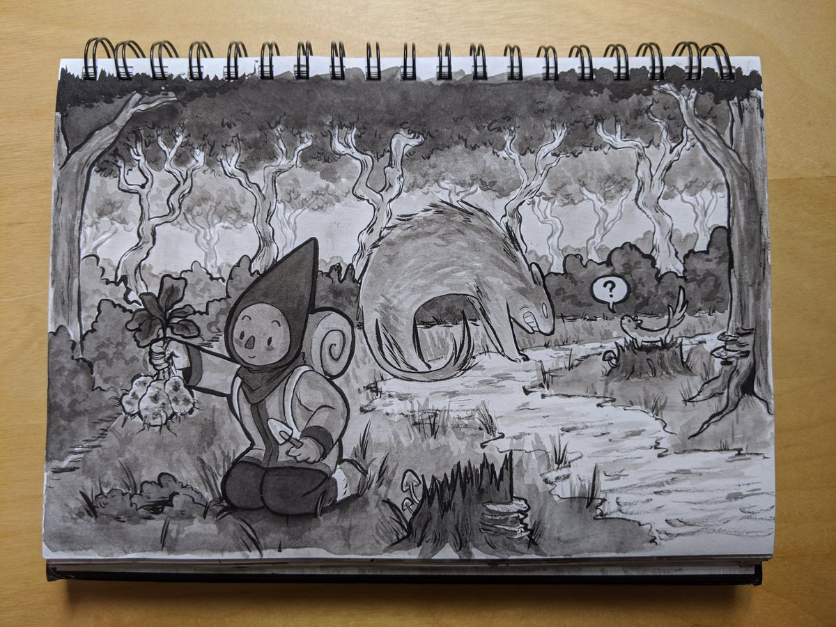 18 - friend  back on the road! do you think those mushrooms are edible?  #inktober2019 #ArtistOnTwitterpic.twitter.com/hZuy9rOoEy