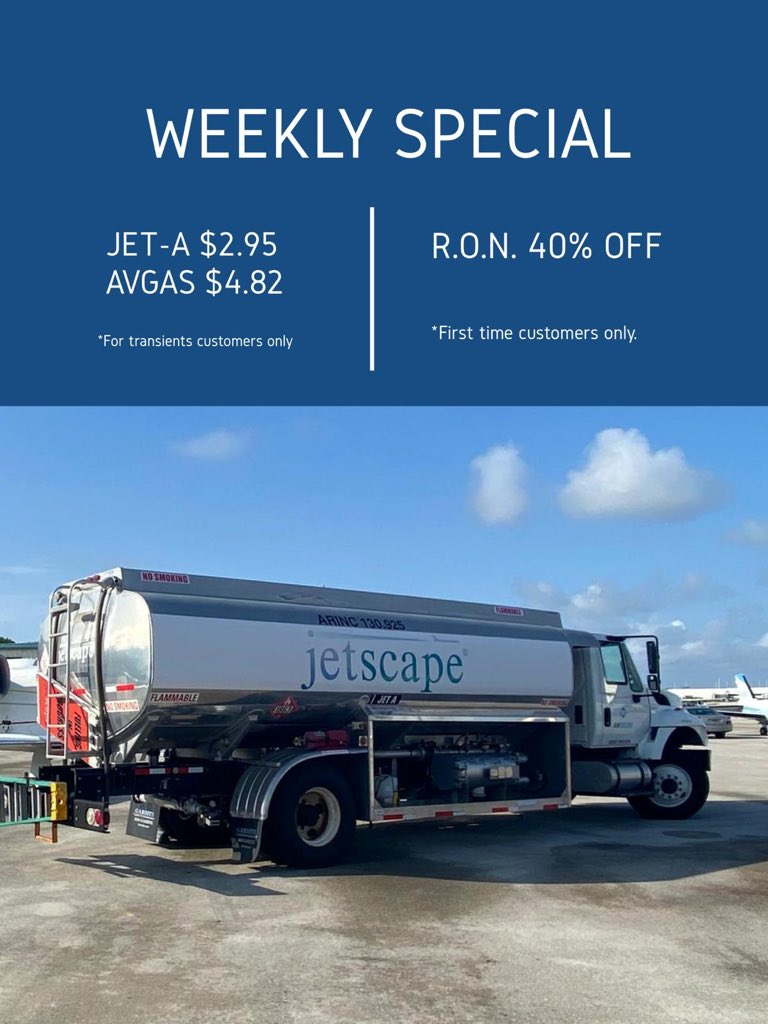 """S.O.S. """"Summer of Savings"""".  Need fuel at customs?? We can meet you there and offer all services. Call today to make your reservations.  - - - #summerofsavings #hotdiscounts #teamjetscape #FLL #summer #businessaviation #aviation #privatejet #avgeek #aircraft #businessjet #bizav https://t.co/npXdGloIiE"""