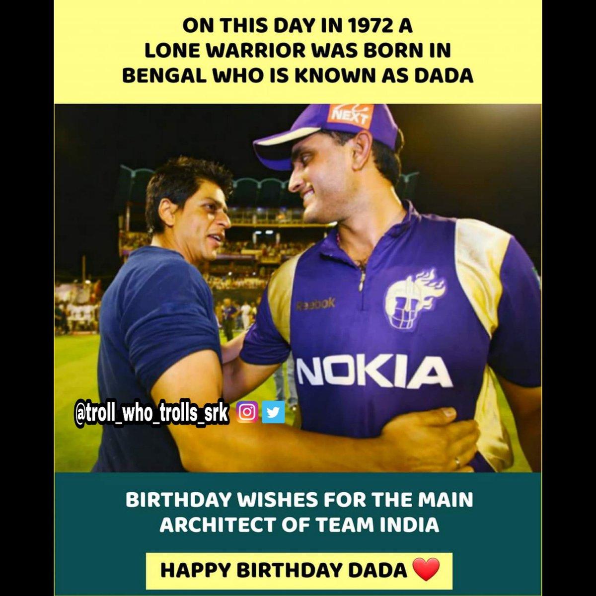 Happy Birthday Dada #HappyBirthdayDada #sauravganguly #Dada #ShahRukhKhan #SRK #Srkians #srkian #SRKCFC #FanTweets #FANART #challenge #srkfan #srkfans #IPL2020 #kkr #Kolkatapic.twitter.com/awNW1eBnMM