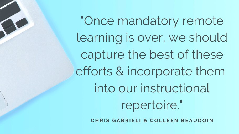 """""""Once mandatory remote learning is over, we should capture the best of these efforts & incorporate them into our instructional repertoire."""" —Chris Gabrieli & Colleen Beaudoin https://t.co/tRAPC87QFc https://t.co/8WS2L9YVw5"""