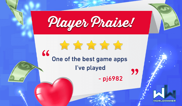 Thank you for such a great review, and for playing on #WorldWinner pj6982! 🤗💕🌻  #cashgames #winmoney #playgames #metime https://t.co/NEWtbIUwLO