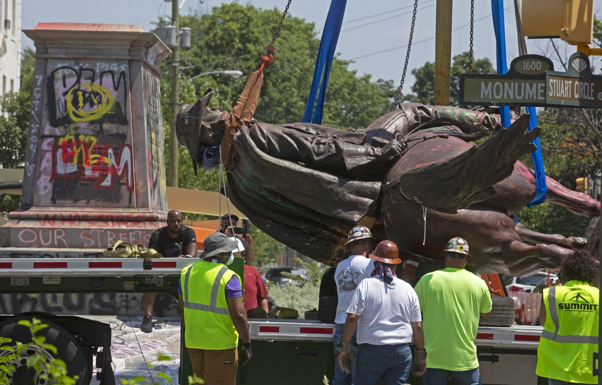 The statue of Confederate General J.E.B. Stuart was removed from Monument Avenue this morning. Richmond, VA. Photo by Scott Elmquist.