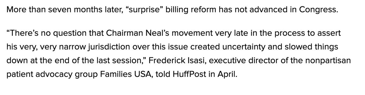 The groups and figures critical of Neal for effectively vetoing reform that looked like it was headed for passage are not associated with the activist left at all. For example, @FamiliesUSA, @sgremminger, @LorenAdler.