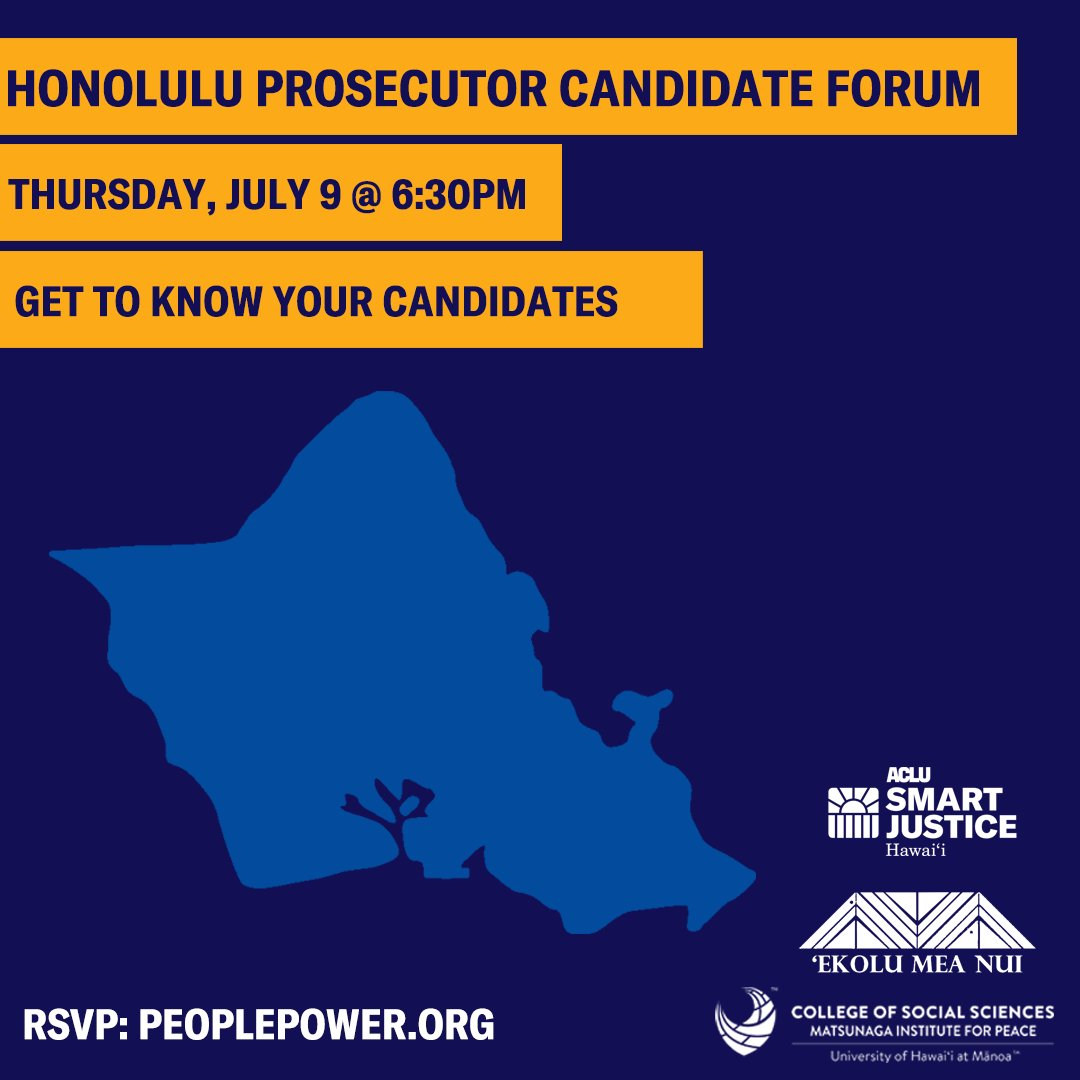 "Image for the Tweet beginning: ""Honolulu Prosecutor Candidate Forum"" Thursday,"