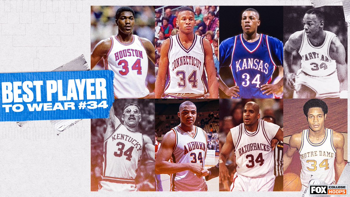 Who was the best college basketball player to wear No. 34? 🤔 https://t.co/FNlurjusoF