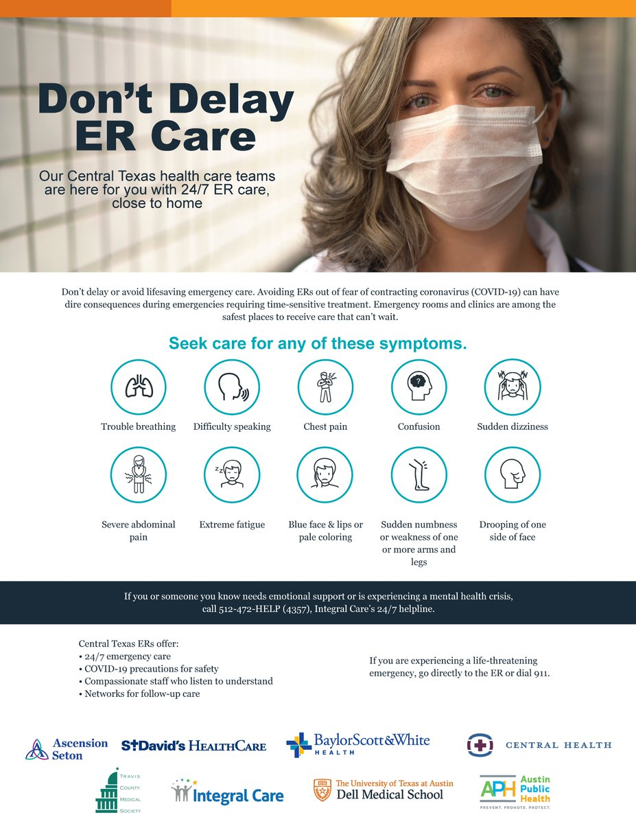 Don't delay or avoid lifesaving emergency care out of fear of contracting #COVID19. ERs + clinics are among the safest places to receive care that can't wait + delaying care can have dire consequences.  🏥📲 For life-threatening emergencies, go directly to the ER or dial 9-1-1. https://t.co/oHyysVbgJ3