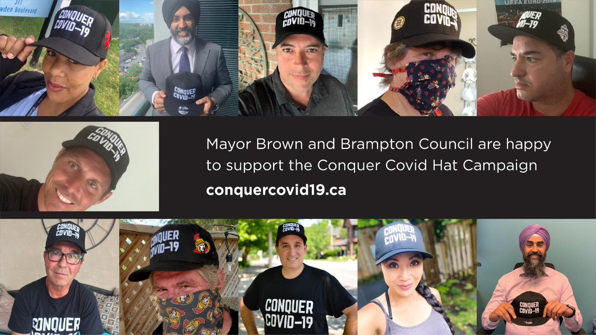 Brampton City Council is proud to support the @conquercovid19 @MLSEFoundation hat campaign which supports the purchase of valuable PPE for our front-line workers. Thanks to @wick_22 & @VancityReynolds for rallying Canadians behind this great initiative. #ConquerCOVID19 #COVIDー19