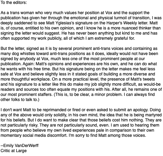 I sent a version of this to the editors of Vox. (I have redacted some bits that are internal to Vox and shouldn't be aired publicly.)