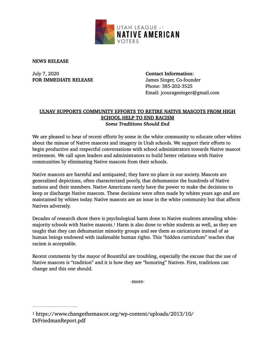 We have issued a statement regarding the misuse of Native imagery at Bountiful High School and support the community efforts towards the mascots retirement. #changethename #utpol #NativeAmericans #HonorTheTreaties