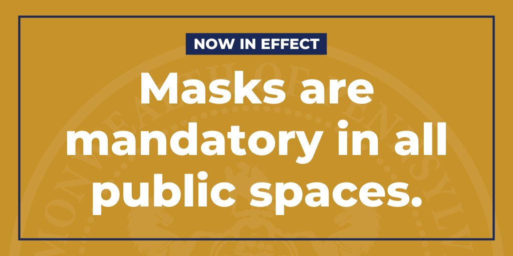 My mask protects you. Your mask protects me.  Protect others from #COVID19 by wearing a mask when you leave home. #MaskUpPA https://t.co/9NnkRIOXaE