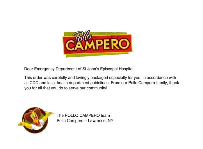 @CamperoUSA donated 55 fried chicken meals yesterday for #NationalFriedChickenDay ! The Emergency Department greatly appreciated the generous and delicious meals! Thank you for thinking of us.   #FeedingtheFrontlines #SJEHCommunity #SupportSJEH https://t.co/5sGaqpXTWn