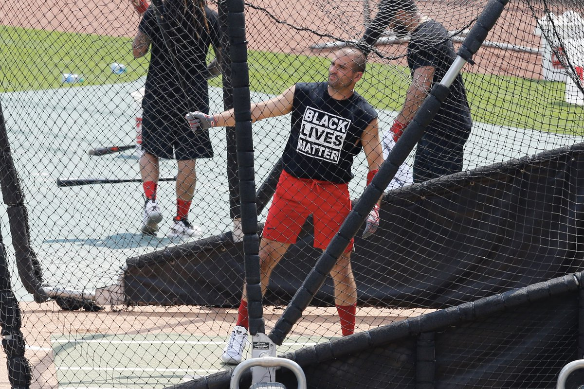 Joey Votto sporting a #BlackLivesMatter tank top in batting practice today. #Reds