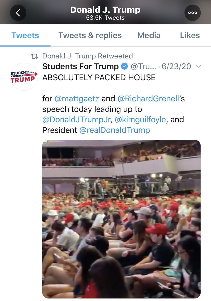Today @realDonaldTrump retweeted another super spreader event: lots of people without masks packed next to each other indoors for long periods of time. The event was in Arizona in June. Also, AZ is reporting record high #Covid19 deaths & hospitalizations. google.com/amp/s/www.axio…