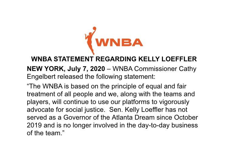 The @WNBA has dropped a statement regarding Sen. Kelly Loeffler. https://t.co/7DTkomRCFB