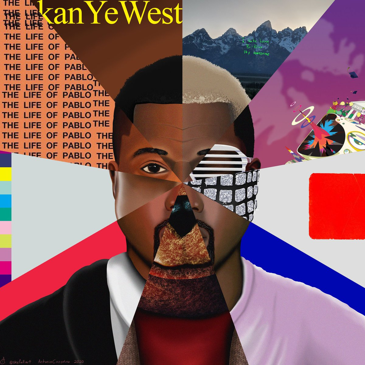 "ALRIGHT!! 5 hours of work and i'm finally done. I'm calling this piece ""kanYeWest"" all of his solo projects in one picture. HOPE YALL ENJOY THIS ONE. ♥️ @kanyewest @KimKardashian"