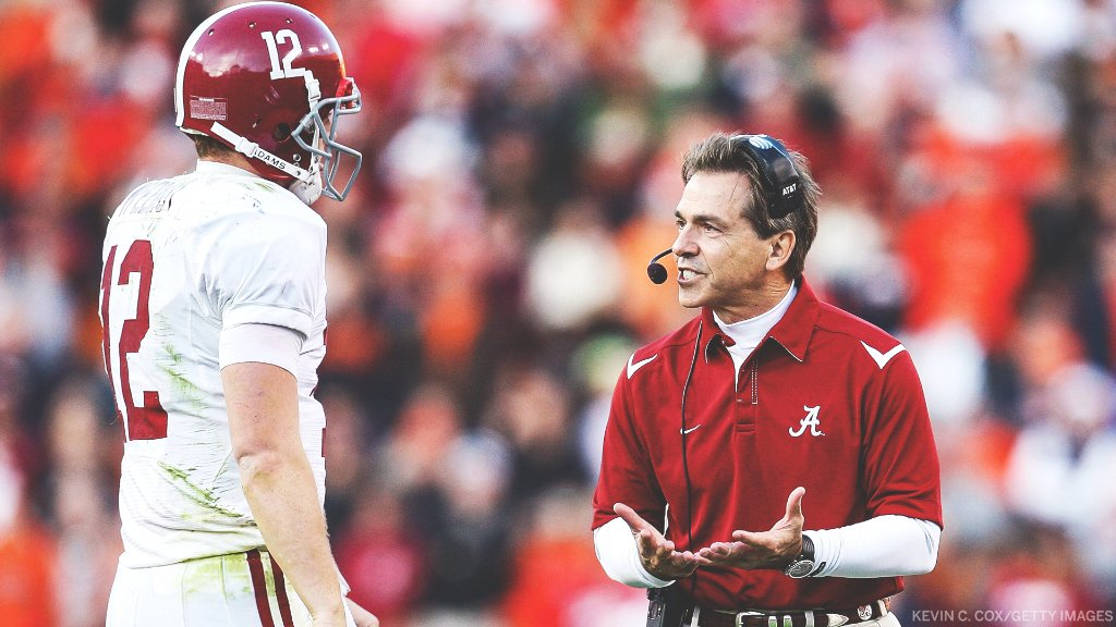 What do you think Saban is saying to @GregMcElroy? 🤔 https://t.co/nD6h9Ongvk